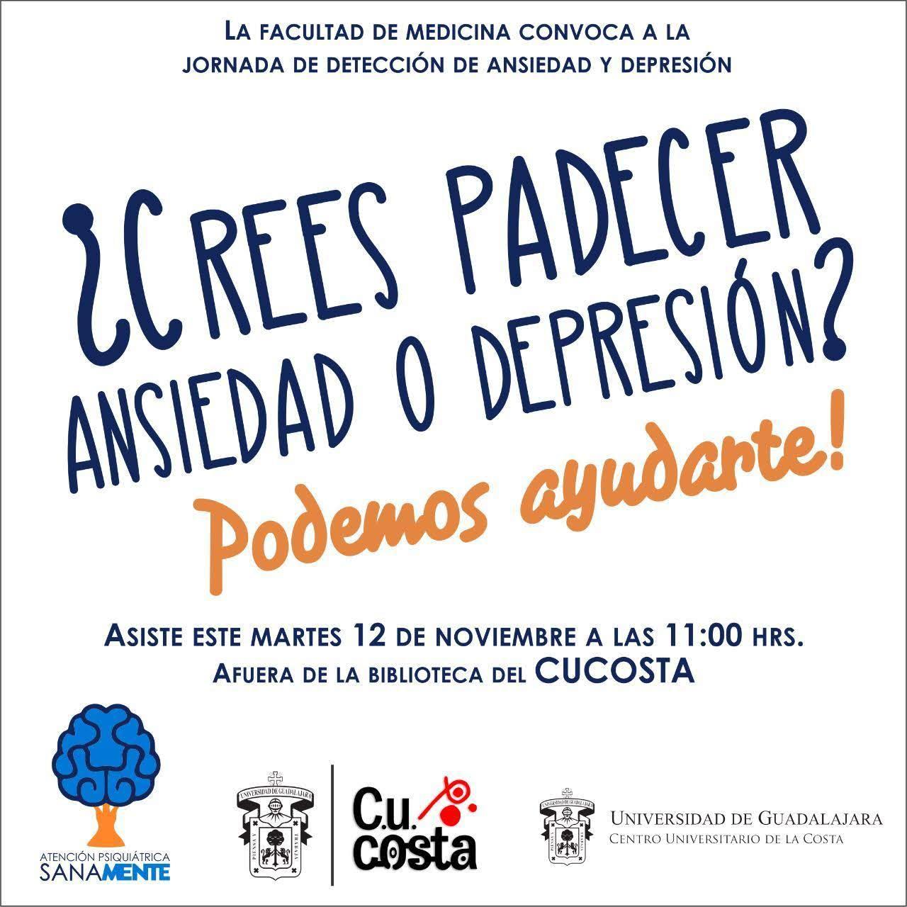 Convocatoria a la jornada de detección de Ansiedad y Depresión en el CUCosta de la UdeG